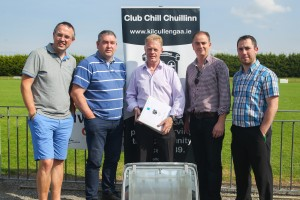 Killian Whelan, Jim Buckley (Chairman) Pat Scully (contractor) Martin Murphy & Henry Barrett at signing of contracts for pitch development August 2015